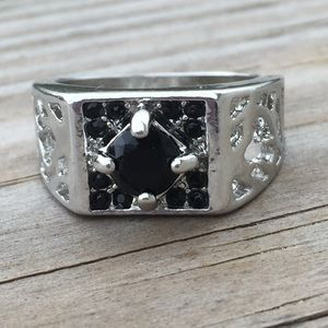 Other - Black CZ Unisex wide halo ring white gold filled